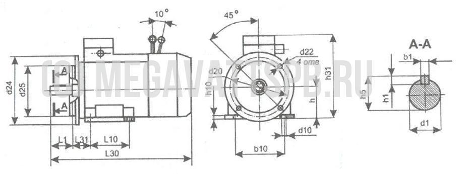 Габаритно-присоединительные размеры электродвигателей со встроенным электромагнитным тормозом.