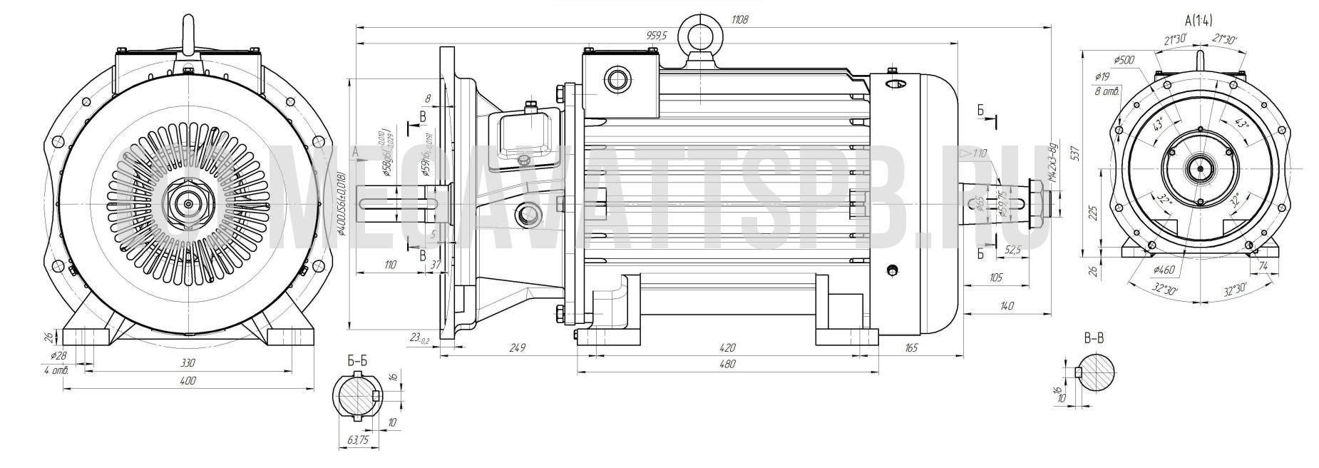 Крановый электродвигатель МТН412-6